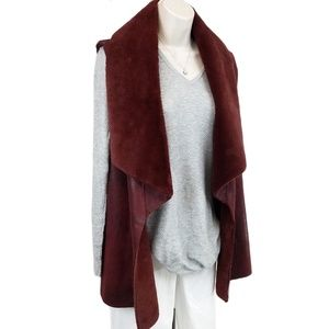 Bagatelle faux shearling vest red purple O/S